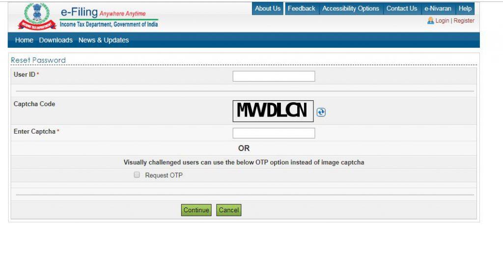 Reset e-Filing Account Password: enter PAN