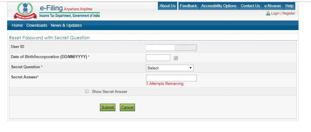 Reset e-Filing Account Password: Secret Answer: basic details