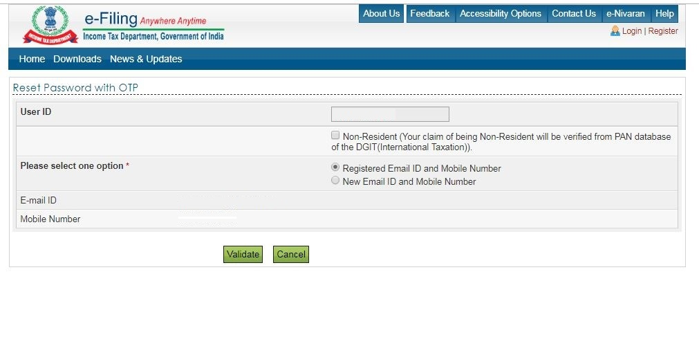 Reset e-Filing Account Password: E-filing-option-OTP