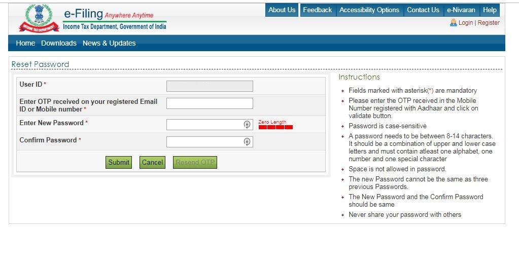 Reset e-Filing Account Password: Secret Answer- OTP-verification