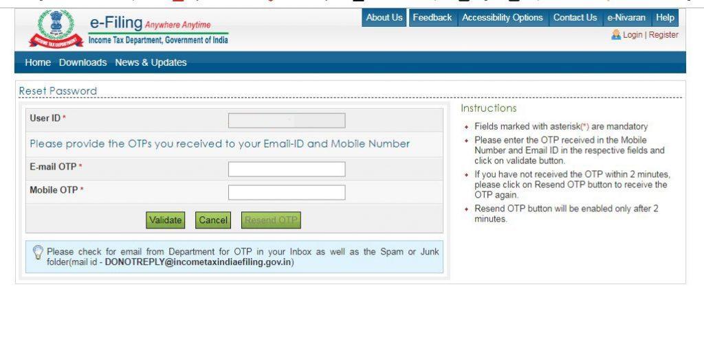 Reset e-Filing Account Password: E-filing-option-mobile-email-otp