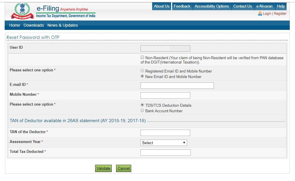 Reset e-Filing Account Password: E-filing-OTP_option-new email-mobile