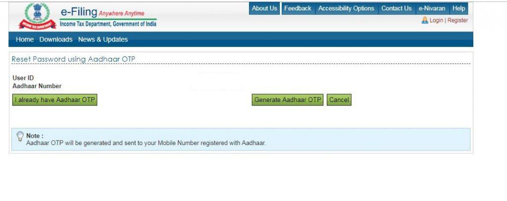 Reset e-Filing Account Password: reset-password-aadhaar-otp