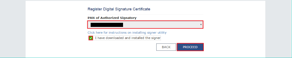 Select PAN to register DSC