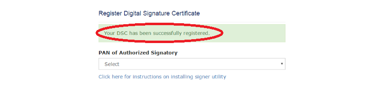 DSC successfully registered