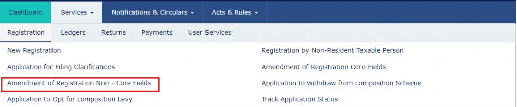 GST registration- Amendment-of-Non-Core-Fields_Navigation- GST Portal
