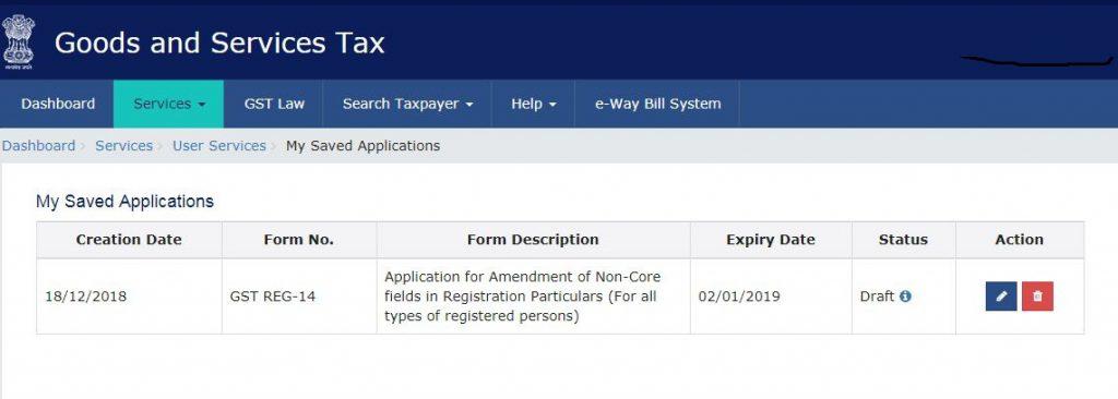 4. GST registration-My saved applications-GST portal