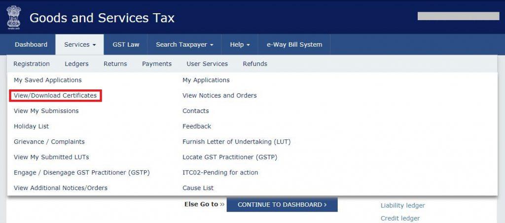 Download GST Registration Certificate-Navigation