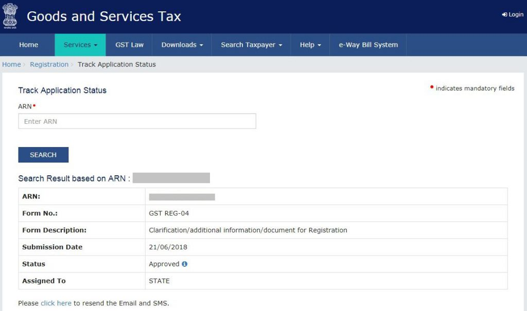 Check GST Registration Status- 3.-ARN-details