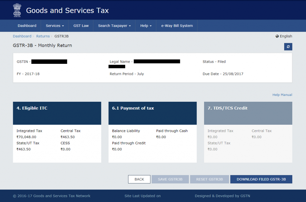 Download GST Return on GST Portal