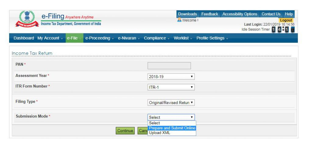 how to file ITR-1-Select AY-ITR Form