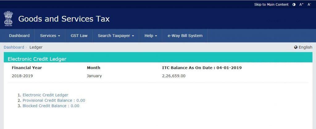 Input Tax Credit balance