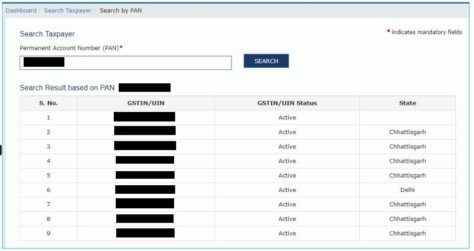 GST Portal - Taxpayer List Using PAN