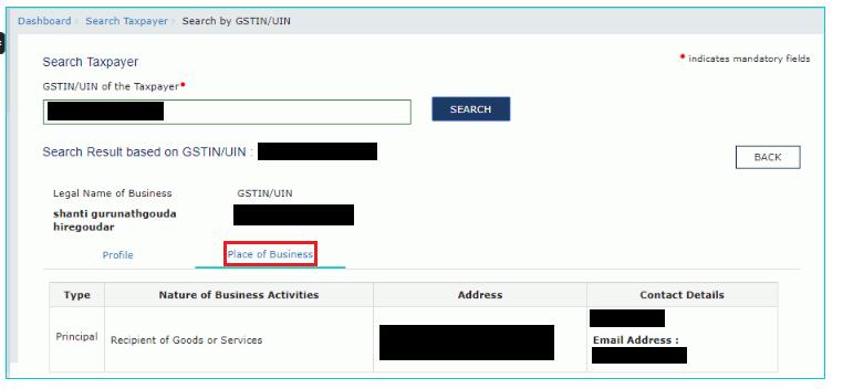 GST Portal - Place of Business Details