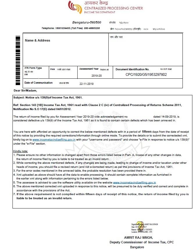 Notice u/s 139(9)