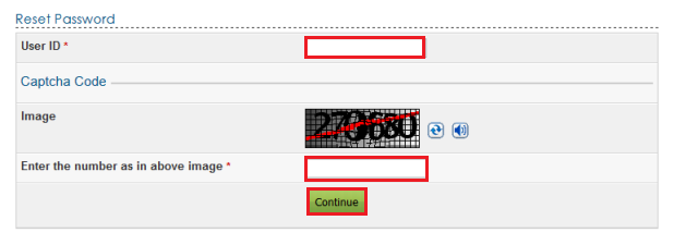 e-Filing Platform Reset Password Page