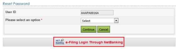 e-Filing Login Through NetBanking