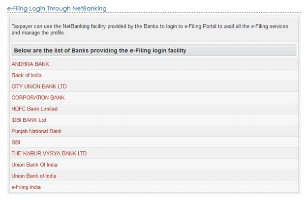 e-Filing Platform - List of Banks