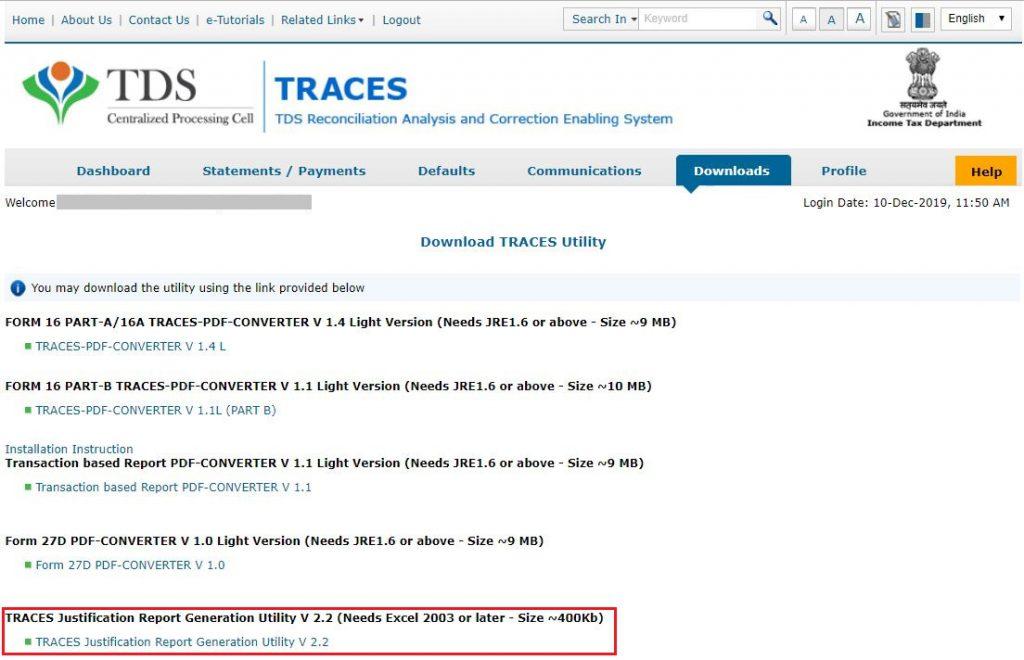 Traces Download 24q 26q 27q Justification Report Help